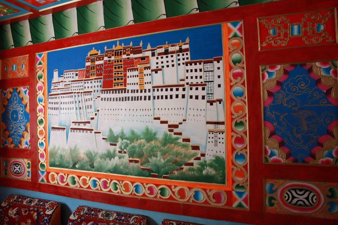 Our living room wall painting of Lhasa's Potala Palace.
