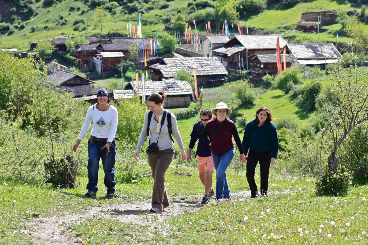 Zhuo Ma hiking in our valley with guests.