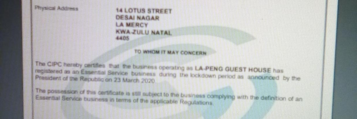 Essential Service business certificate