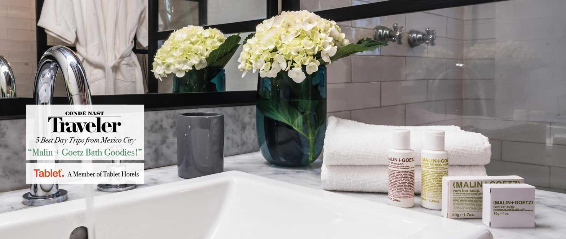 Todas nuestras habitaciones incluyen deliciosos artículos de baño Malin + Goetz. Las Casas B+B Boutique Hotel, Spa & Restaurante en Cuernavaca.