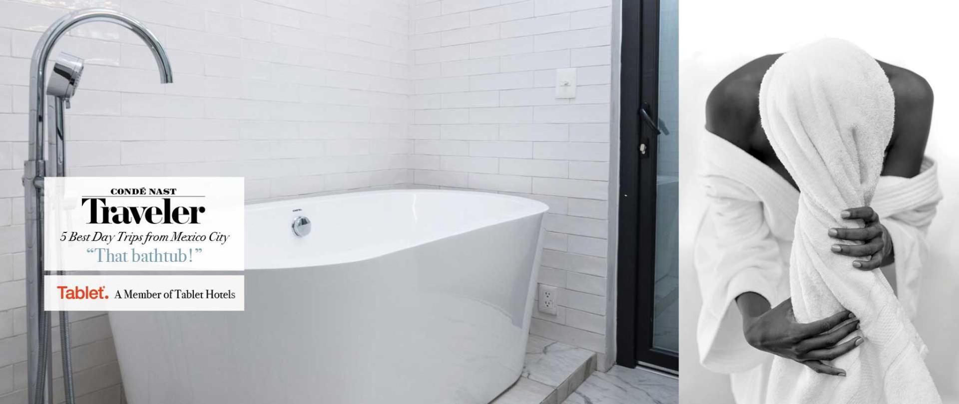 Todas las suites cuentan con amenidades de baño Malin + Goetz, Tina de baño Y Bocinas Marshall. Las Casas B+B Boutique Hotel, Spa & Restaurante en Cuernavaca.