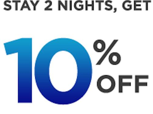 Stay 2 nights get 10% off  the Best Available Rate (BAR)