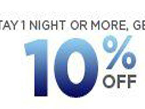 Stay 1 Night or More, Get 10% Off