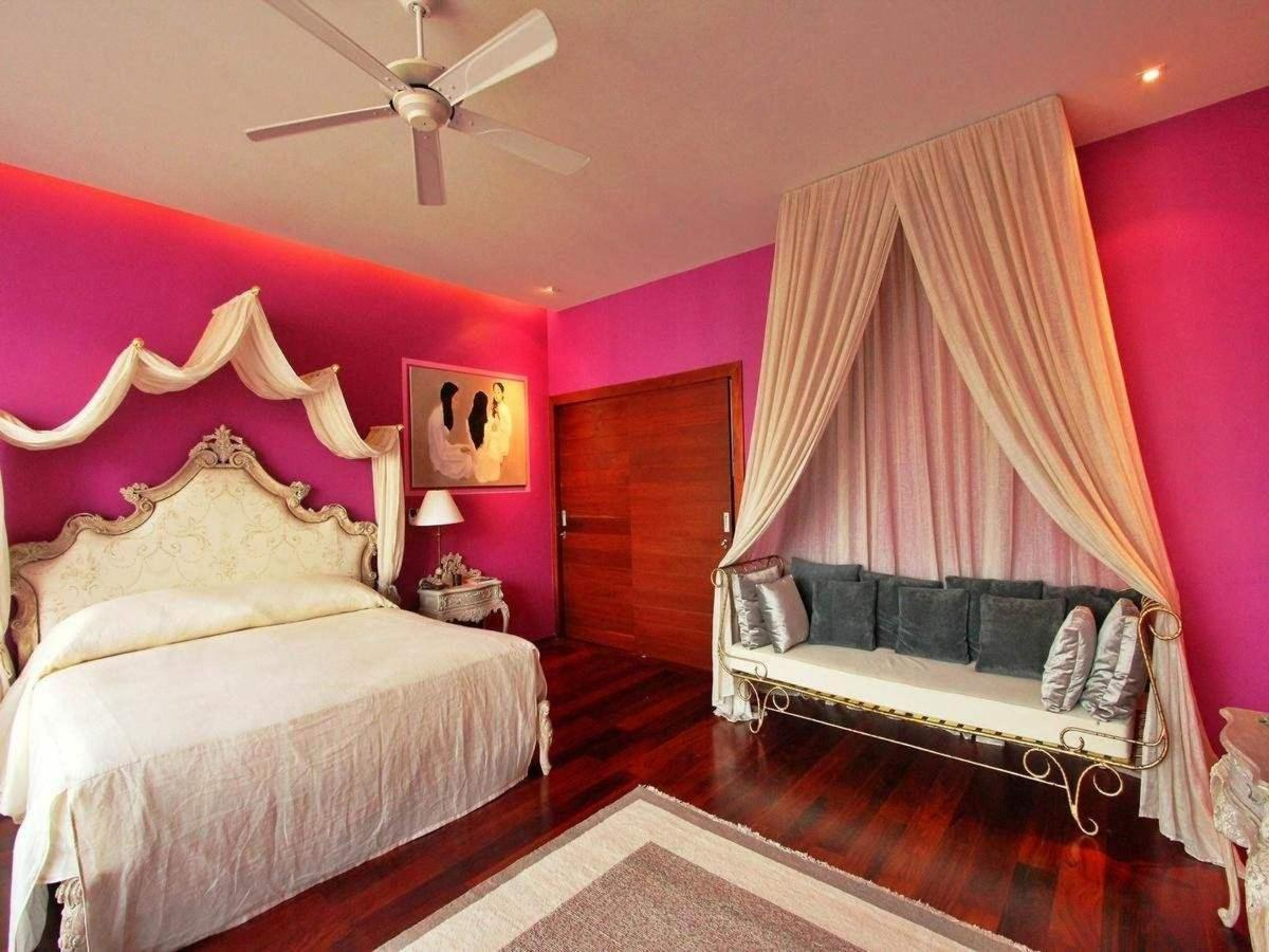 Purple bedroom - French romantic style with king size bed