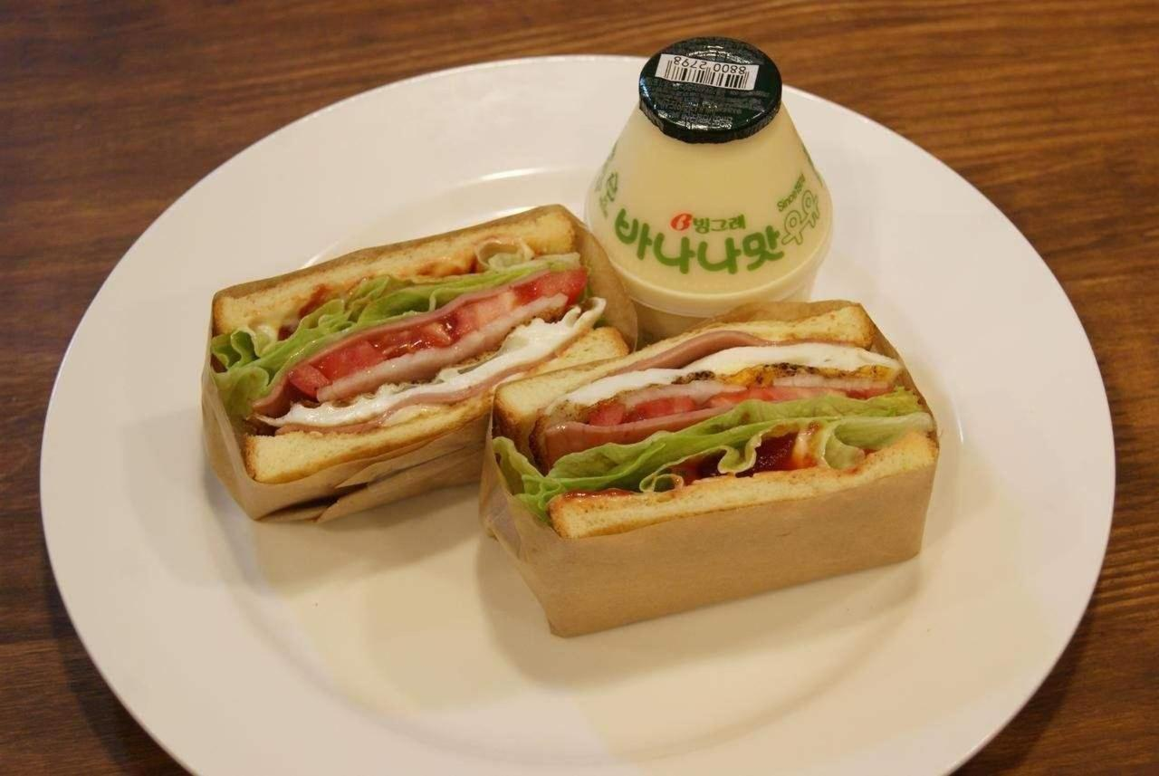 Sandwich and Banana Milk at Seoul N Hostel.jpg