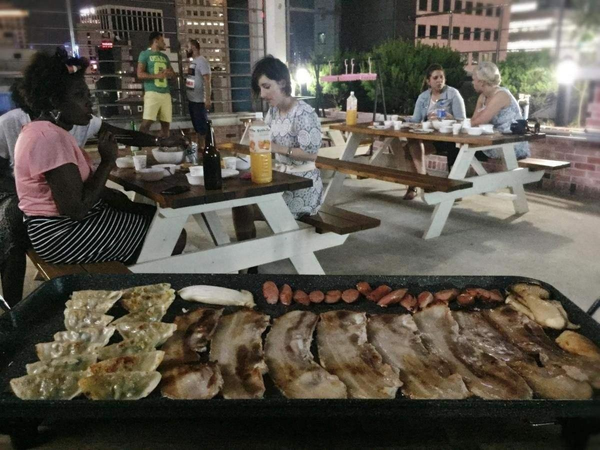 Korean BBQ at Seoul N Hostel.jpg