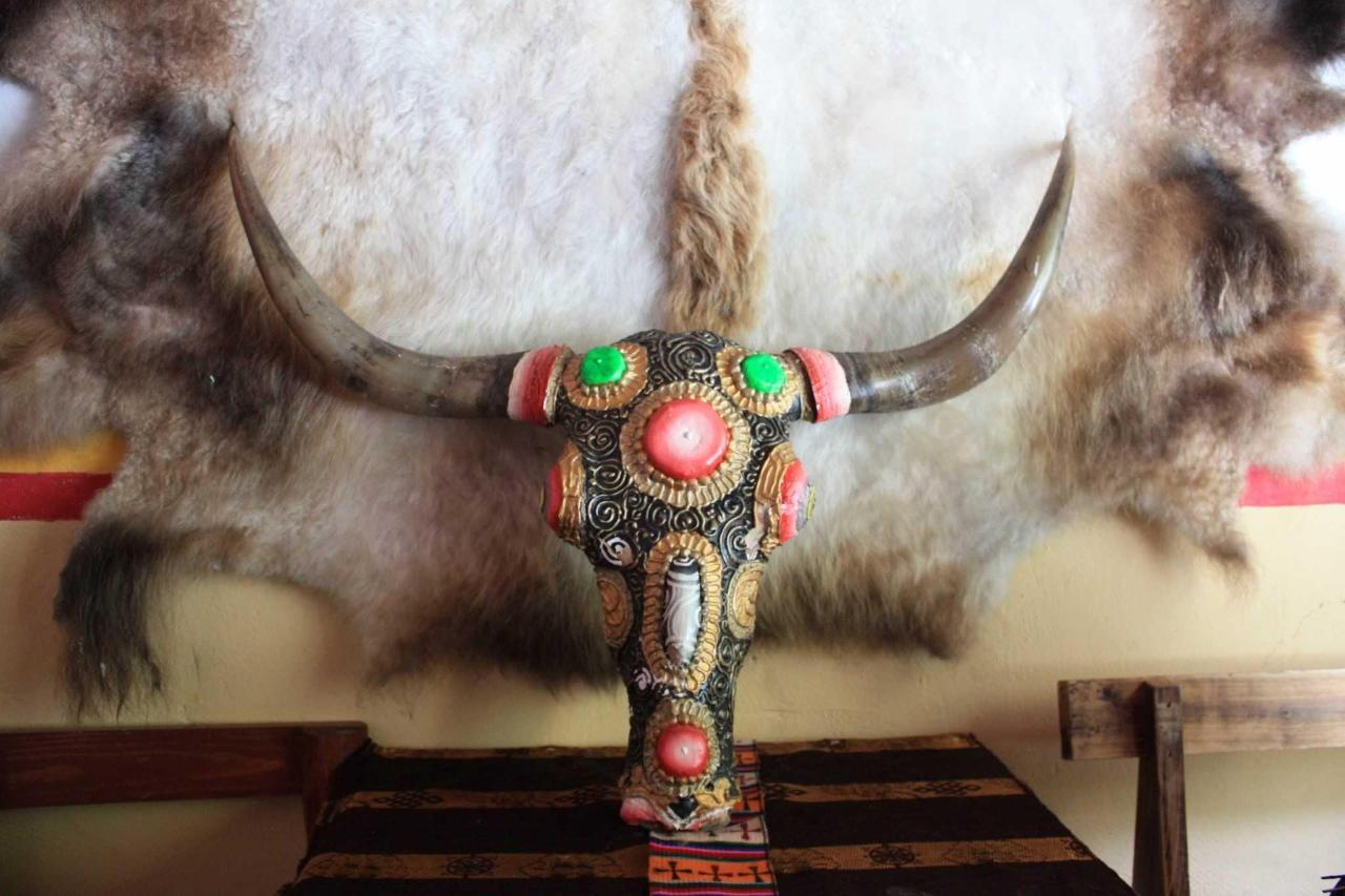 Decorated yak skull.