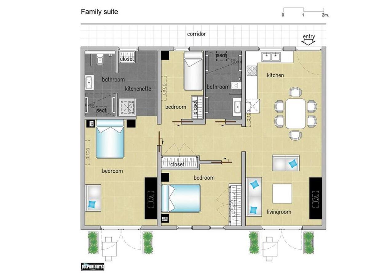 Floorplan Suite Connected to room,Floor Plans, Dolphin Suites, Willemstad, Curaçao.jpg