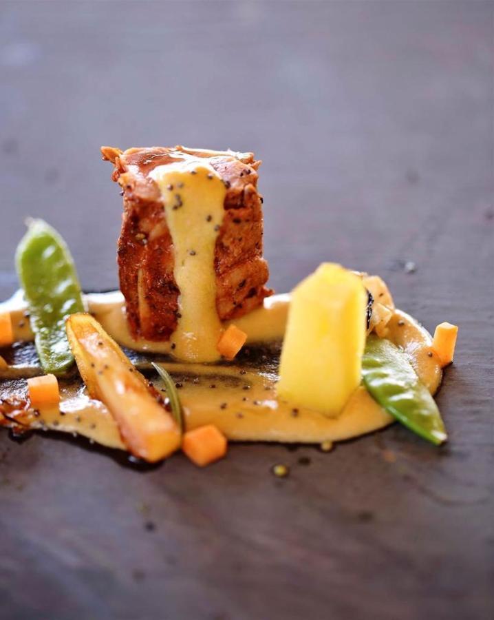 Pork loin homemade honey mustard mayo potatoes confit pumpkin cubes and green....jpg