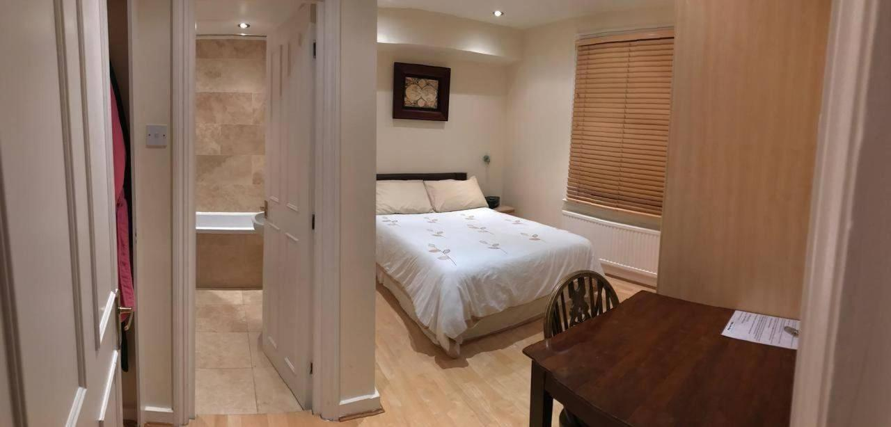 The immaculate bedroom offers a comfortable Double sized bed, a mirrored wardrobe, a desk, a table with 2 USB fitted plugs and bedside cabinets. This bedroom is sleek and completely private design that offers total privacy and shuts down noise even from t