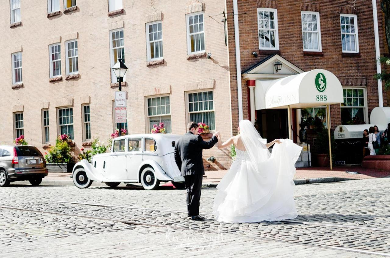 Admiral Fell Inn Bride and Groom Horizontal Hotel Exterior Shot by Kirsten Smith Photography.jpg