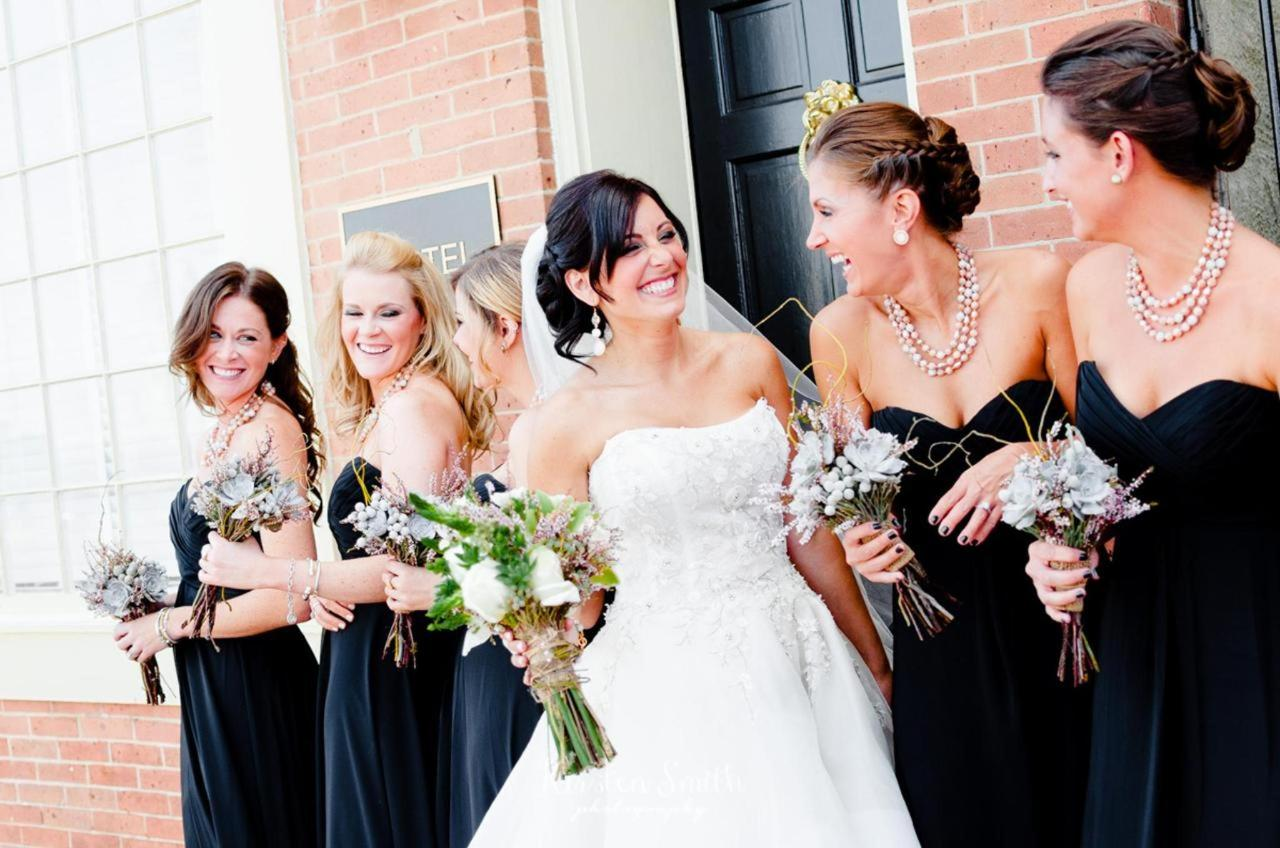 Admiral Fell Inn Horizontal Bridesmaids and Bride in Fells Point Shot by Kirsten Smith Photography.jpg