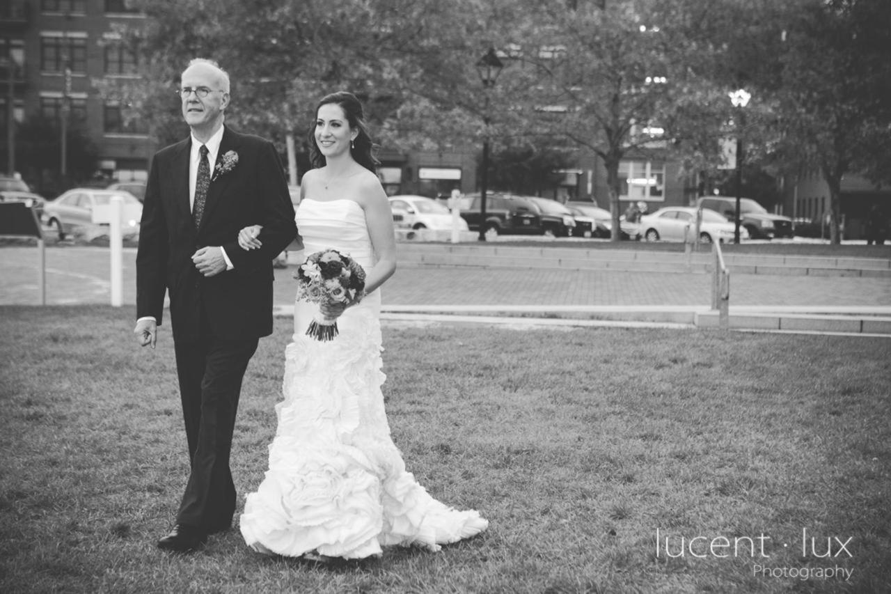 Admiral Fell Inn Black and White Bride Walking to Aisle Shot by Lucent Lux Photography.jpg
