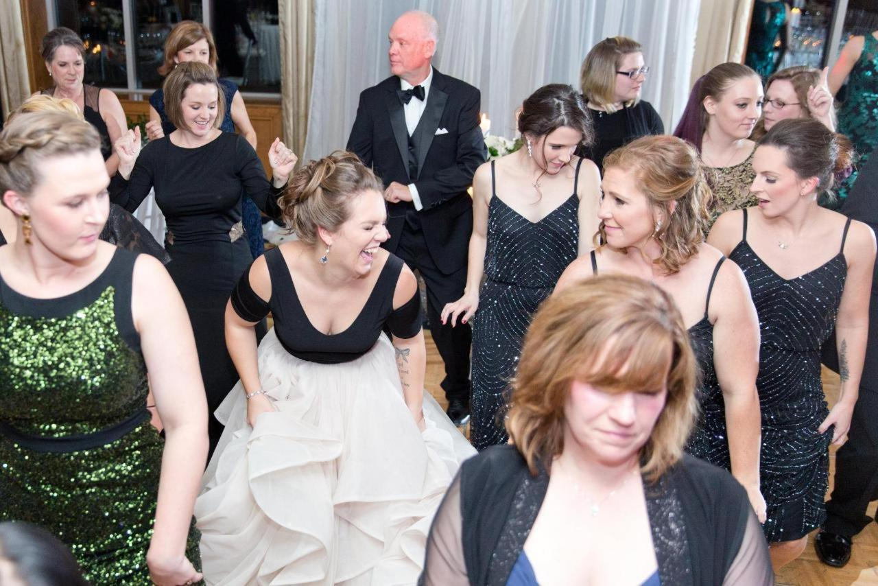 Admiral Fell Inn Guest Bride and Bridal Party Dancing Shot by Amy and Jordan Photography.jpg