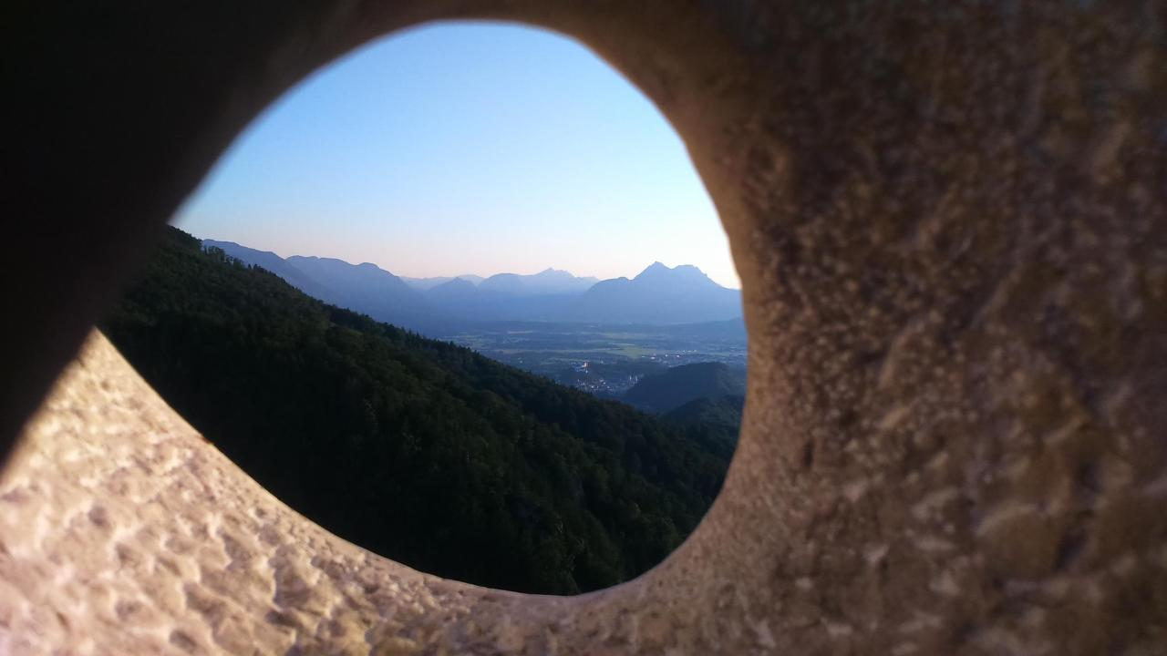 View through the sculpture at the Nockstein