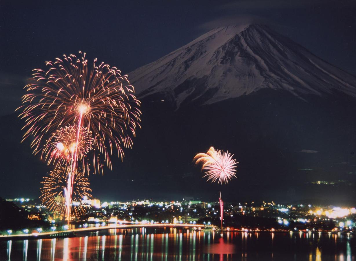 Mount Fuji and fireworks