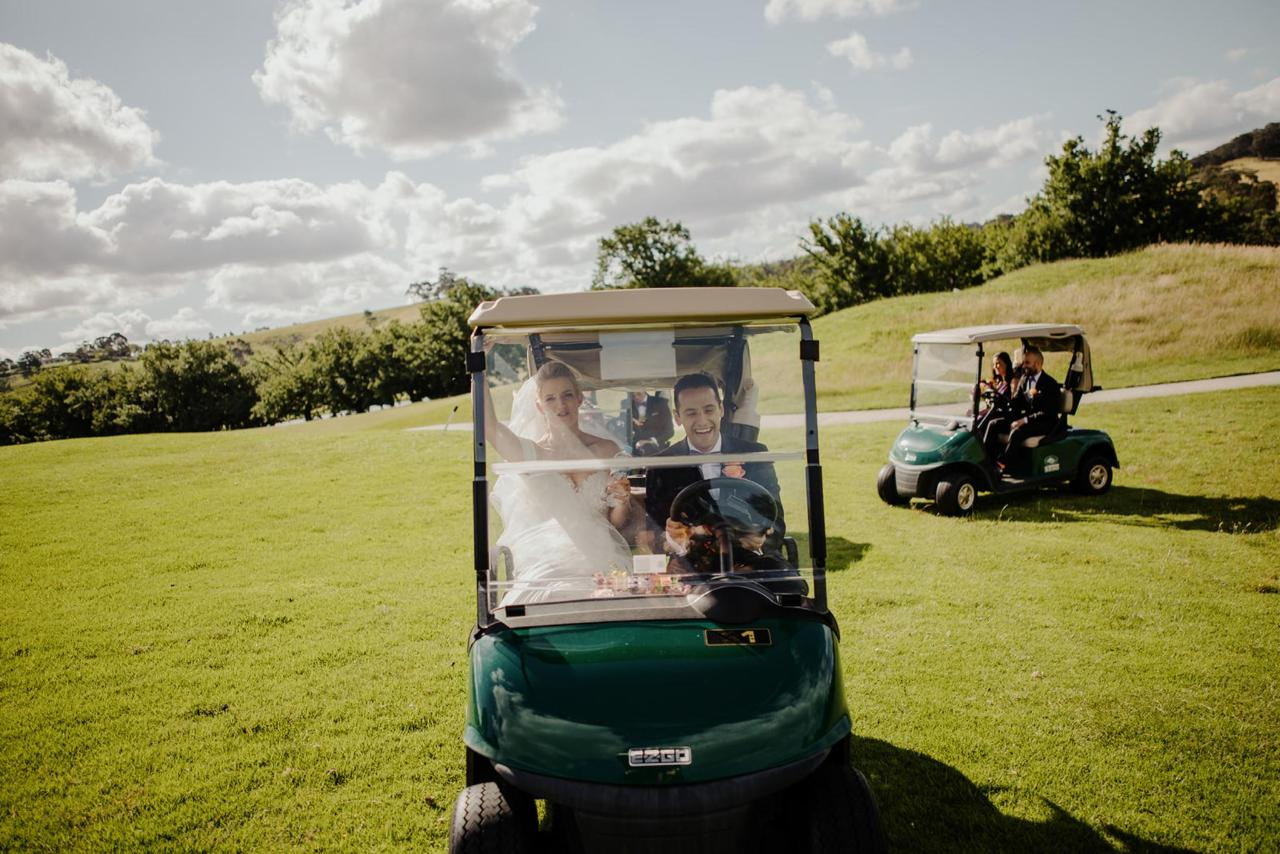 Yarra Valley Lodge Wedding - Golf Buggy Entrance.jpg