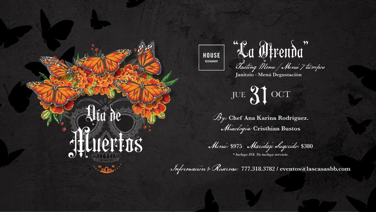 Menu de cena para dia de muertos en Cuernavaca Morelos