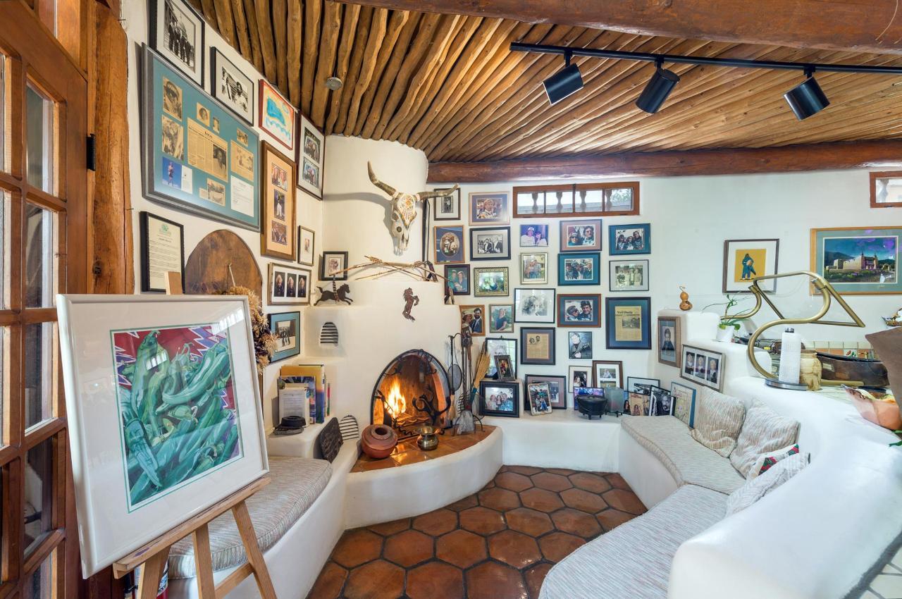 Kiva fireplace in the Sunroom